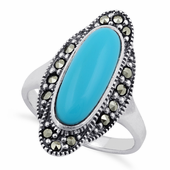 Sterling Silver Synthetic Turquoise Oval Marcasite Ring