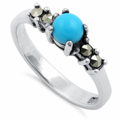Sterling Silver Synthetic Turquoise Round Marcasite Ring