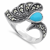 Sterling Silver Synthetic Turquoise Water Drop Marcasite Ring