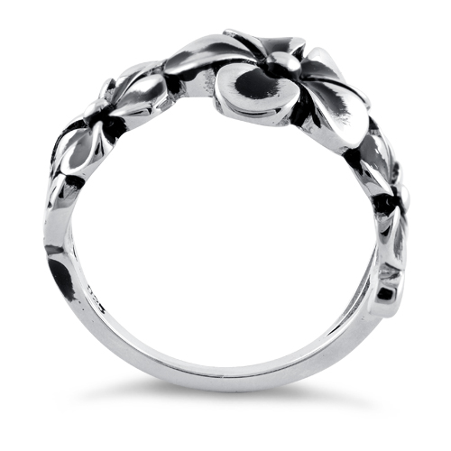 Sterling Silver Twilight Triple Plumeria Ring