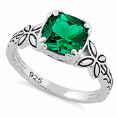 Sterling Silver Twin Butterfly Cushion Cut Green CZ Ring
