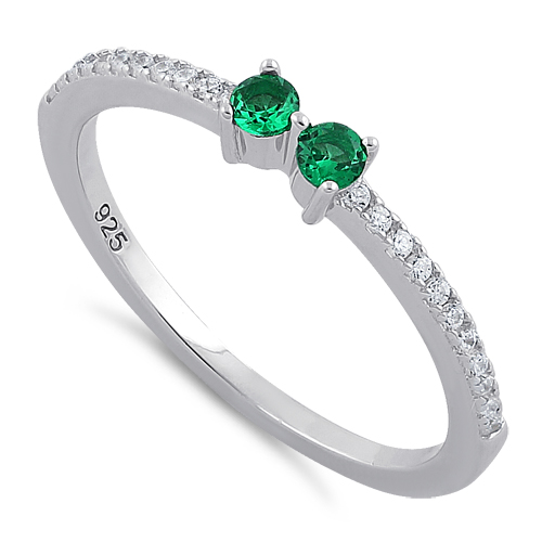 sterling silver cut emerald cz ring