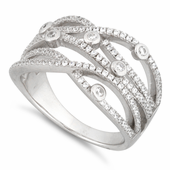 Sterling Silver Twisted Beads Pave CZ Ring
