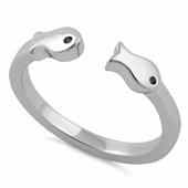 Sterling Silver Two Fish Ring