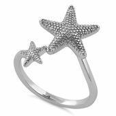 Sterling Silver Two Starfish Ring