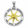 Sterling Silver Two Tone 20mm You Are My Sunshine Pendant