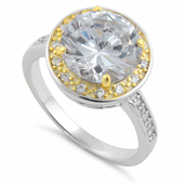 Sterling Silver Two Tone Clear Round Cut Halo CZ Ring