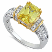 Sterling Silver Two Tone Gold Plated Emerald Cut Yellow CZ Ring