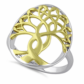 Sterling Silver Two Tone Gold Plated Tree of Life Ring
