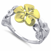 Sterling Silver Two Tone Gold Plated Triple Plumeria Ring
