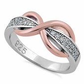 Sterling Silver Two-Tone Rose Gold Infinity Pave CZ Ring