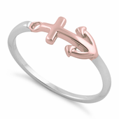 Sterling Silver Two-Tone Rose Gold Plated Anchor Ring