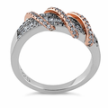 Sterling Silver Two Tone Rose Gold Plated Exotic Twisted Clear CZ Ring