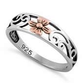 Sterling Silver Two Tone Rose Gold Plated Flower Ring