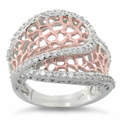 Sterling Silver Two-Tone Rose Gold Plated Freeform CZ Ring