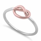 Sterling Silver Two Tone Rose Gold Plated Knot Ring