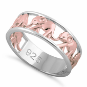 Sterling Silver Two Tone Rose Gold Plated Multiple Elephants Ring