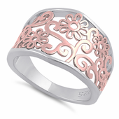 Sterling Silver Two Tone Rose Gold Plated Plumeria Flower Ring