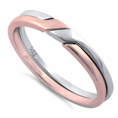 Sterling Silver Two-Tone Rose Gold Plated Puzzle Ring