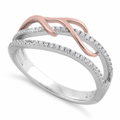 Sterling Silver Two-tone Rose Gold Plated Vines Freeform CZ Ring