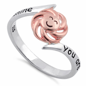 "Sterling Silver Two Tone Rose Gold Plated ""You are my sunshine, my only sunshine"" Ring"