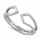 Sterling Silver Unique End to End Ring