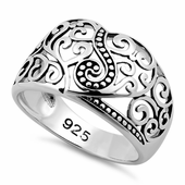 Sterling Silver Unique Heart Vines Ring