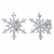 Sterling Silver Unique Snowflake Clear CZ Earrings