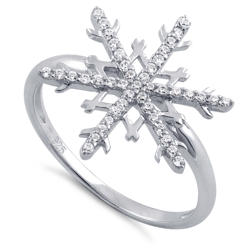 sterling silver unique snowflake clear cz ring
