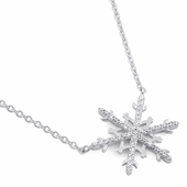 "Sterling Silver Unique Snowflake Clear CZ 16"" Necklace"