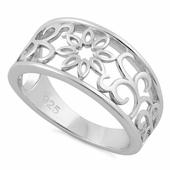 Sterling Silver Vines Flower Ring