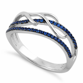 Sterling Silver Vines Freeform Blue Sapphire CZ Ring