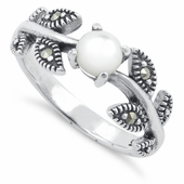 Sterling Silver Mother of Pearl Leaves Marcasite Ring
