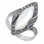 Sterling Silver Mother of Pearl Marquise Marcasite Ring