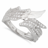 Sterling Silver Wings Pave CZ Ring