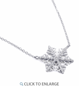 Sterling Silver Winter Snowflake Clear CZ Necklace