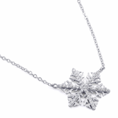 "Sterling Silver Winter Snowflake Clear CZ 16"" Necklace"