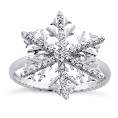 sterling silver winter snowflake clear cz ring