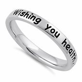 """Sterling Silver """"Wishing you health, happiness, success, & love"""" Ring"""