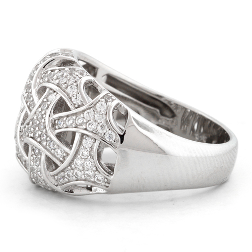 sterling silver woven pave cz ring
