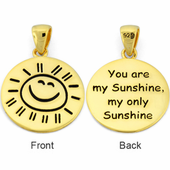 "Sterling Silver Gold Plated ""You are my Sunshine my only Sunshine"" Large Pendant"
