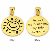 "Sterling Silver Gold Plated ""You are my Sunshine my only Sunshine"" Pendant"