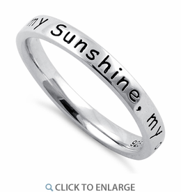 """Sterling Silver """"You Are My Sunshine, My Only Sunshine"""" Ring"""
