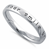 "Sterling Silver ""Your Smile Brightens My World"" Ring"