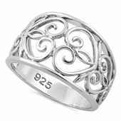 Sterling Sivler Caged Heart Ring