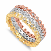 3 Rings Triple Tone Stackable CZ Ring