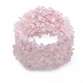 Wide Chips Rose Quartz Elastic Bracelet