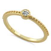 Yellow Gold Plated Silver Fancy Round Ring