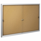 Deluxe Bulletin Board Cabinets 3'H x 4'W - 2 sliding doors