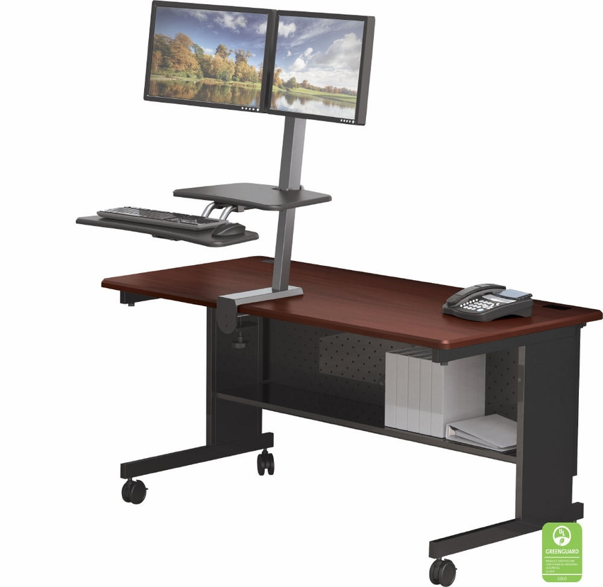 Desk Mounted Sit Stand Workstation Dual Monitor